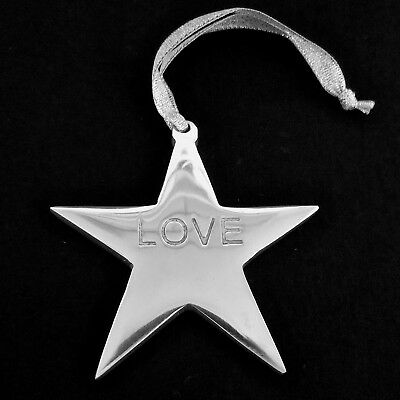 Love Silver Star Hanging Metal Ornament Decor 3.25 inch 8 cm Across