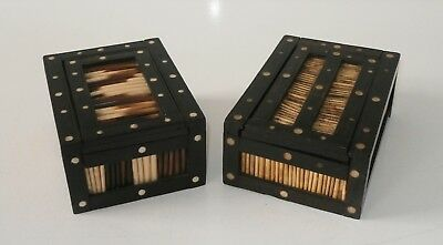 Fine Pair Antique Victorian Anglo Indian Porcupine Quill Boxes c1880 Ceylon