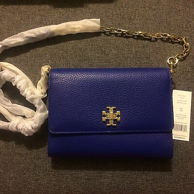 c995889e749  285 New TORY BURCH Leather Mercer Chain WALLET CROSSBODY Macaw Blue Autumn