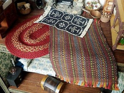 Dollhouse Miniature Artisan Hand Woven Braided Country Style Rugs Lot 1:12