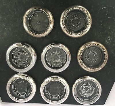 Antique Sterling Silver & Cut Glass Coasters mixed lot of 8