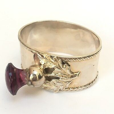 vintage EPNS silver napkin ring Scottish Thistle Purple amethyst Glass Stone