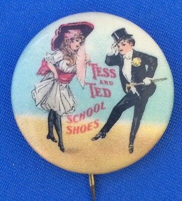 c 1920 TESS & TED SCHOOL SHOES Children STAR Brand CELLULOID PINBACK Pin Antique