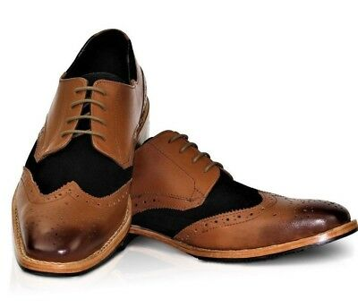 Mens Goodyear Welted Leather Sole & Lining Formal Tan Lace Up Brogues Shoes 8-12