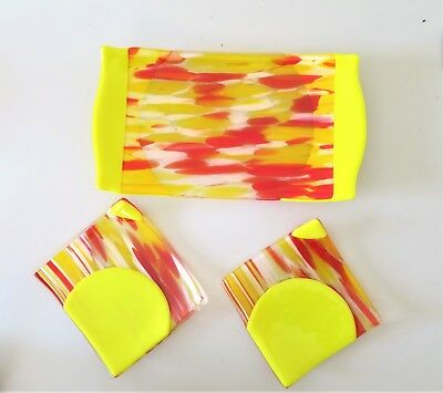 3 Piece Heavy Art Glass Sushi Serving Set, Yellow Red MCM Style