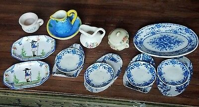 Dollhouse Miniature Artisan Transfer ware & Painted Quimper Pottery Lot 1:12