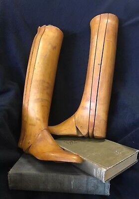 Pair Antique Hellstern  Paris Large Wooden Equestrian Boots Stretchers 3-Pc Tree