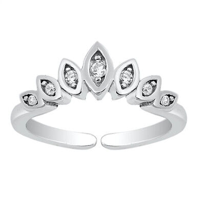 b2e012025f2b82 CROWN DESIGN CLEAR CZ Toe Ring Sterling Silver 925 Ship from USA ...