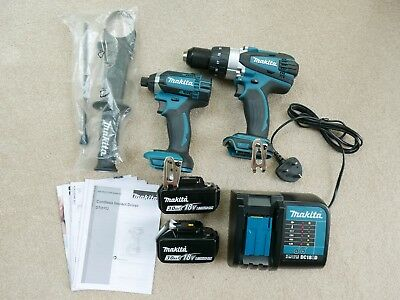 Makita DLX2145TJ Combi Drill and Impact Driver 18 V Kit with 2 x 3.0 Ah Batts