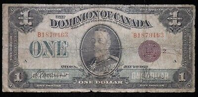 1923 Red Seal $1 Dollar Dominion of Canada Paper Note  Circulated