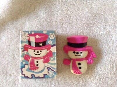VINTAGE 1974 AVON PIN Wee Willy Winter Pink Snowman Pin Pal Fragrance Glace