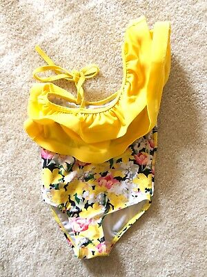 Toddler Swimsuit 2t - Floral Yellow - ADORABLE - QUICK SHIP!!
