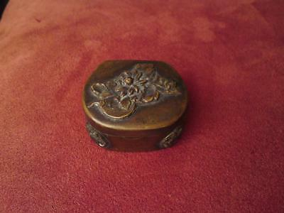 19th century Japanese Meiji Brass box overlay relief florals butterfly
