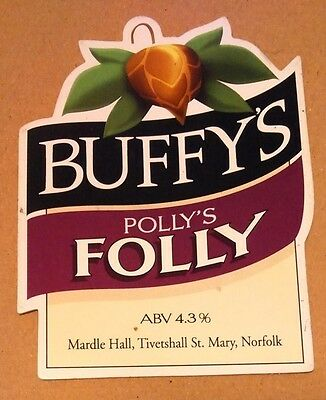 Beer pump badge clip BUFFY'S brewery POLLY'S FOLLY real cask ale pumpclip front