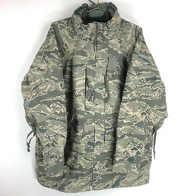 USAF APECS ABU GORETEX AIR FORCE TIGER Stripe Camo Parka Shell Size Large