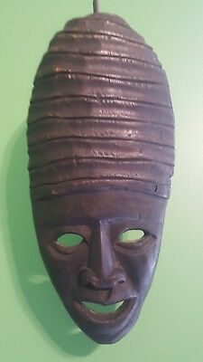 Carved Wooden Mask Wall Sculpture - Possibly Jamaican