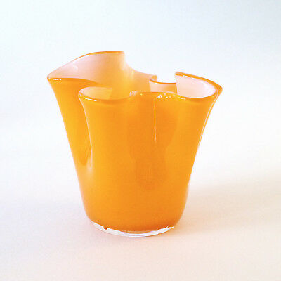 VINTAGE MINI ORANGE 'HANKY' GLASS VASE - 60s / 70s