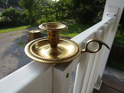 Vintage Solid Brass Chamberstick Candle Holder With Finger Loop Handle~NICE!!!!