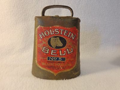 Vintage HOLSTEIN BELL NO. 5 COW BELL w/ label Blum Mfg. Co.  Collinsville, IL
