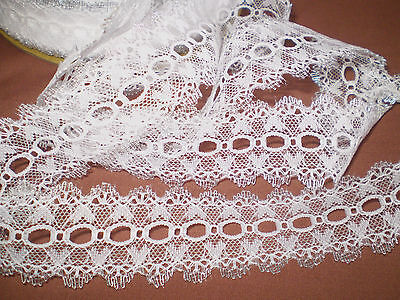 Eyelet/knitting in/coathanger lace 5 metres x 4cm wide white/silver edging