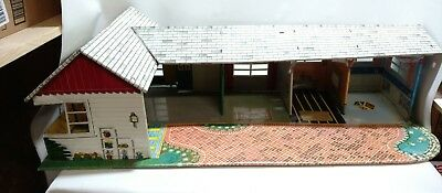 Marx Vintage 1950's Tin Doll House Litho Printed Metal with Furniture