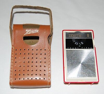 Vintage 1962 Zenith Royal Fifty 50 L Transistor Pocket Radio Am Red/white