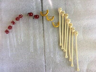SKULL SKELETON Bone Swizzle Stir Sticks Rhinestone Eyes cherry fruit dice glass