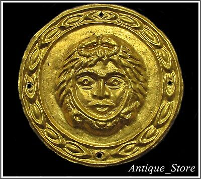 Ancient GOLD Parade Greek-Roman Chest Armor Central Aplique **MEDUSA**