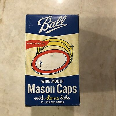 Vintage Box of 12 Ball Gold Wide Mouth Dome Mason Canning Jar Lids And Rings