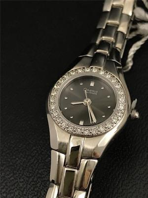 CARAVELLE by Bulova 43l41 Women's Crystal Accented Black Dial Watch