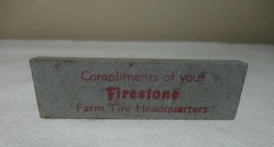 Firestone Farm Tires Advertising Sharpening Stone Unused Bin