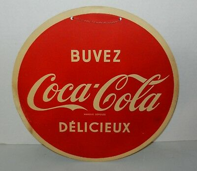 Scarce Vintage 1950s Coca Cola French Canadian Cardboard Advertising Button Sign