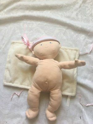 Pottery Barn Kids Plush Baby Doll Toy with Pink Cream Chamois Blanket Wrap Girl