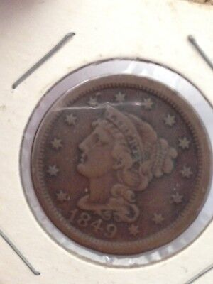 1849 P Braided Hair Liberty Head Large Cents Early Copper Penny
