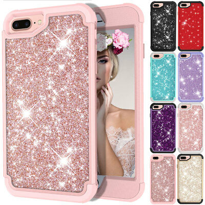 For iPhone 6 6s 7 8 Plus Glitter Bling Heavy Rugged Protective Rubber Hard Case