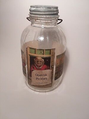 ANTIQUE Obelisk Pickles Jar with old comic