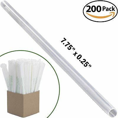 Clear Plastic Biodegradable Straws 200 Bulk Pack. Reduce Your Carbon Footprint
