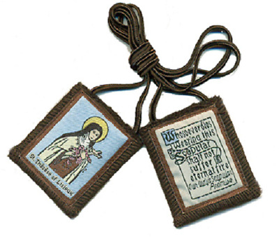 Traditional Our Lady of Mt. Carmel Brown Scapular w/ St. Therese Image