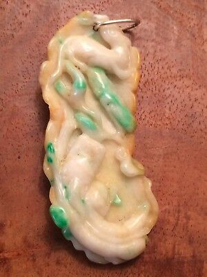 Chinese Qing Dynasty Chilong Dragon Pendant Carving Green Yellow Jadeite Jade