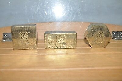 Vintage lot 3 SH solid Brass England paper weight