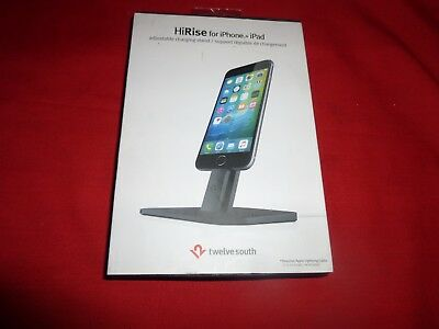 New Twelve South HiRise Adjustable Charging Stand(Black) for iPhone/iPad