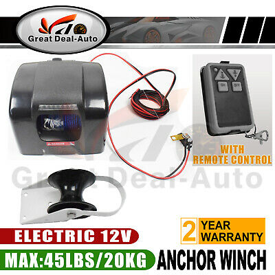 12V Electric Anchor Winch W/ 30M*5mm Rope Remote Control MAX 20KG For Boat