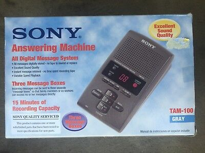 Sony TAM-100 Gray Digital Telephone Answering Machine with 3 Mailboxes Gray