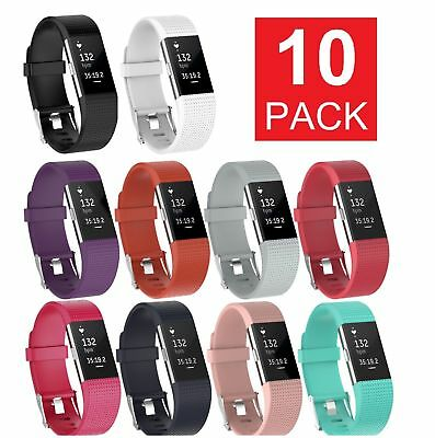 10 Pack Replacement Wristband For Fitbit Charge 2 Band Silicone Fitness Small