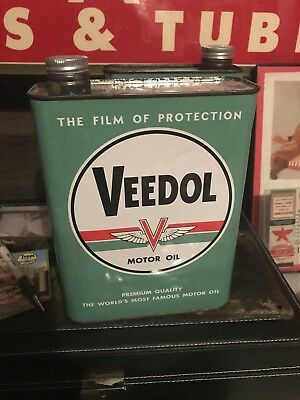 Rare Mint Veedol 2 Litre Motor Oil Can - Tydol Tide Water Cycol Sign Tin