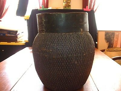 Antique African Wolven Storage Basket With Wooden Collar