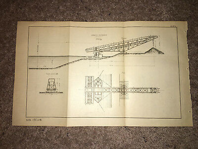 1884 Suez Canal Engineering Diagram Appareil Elevator
