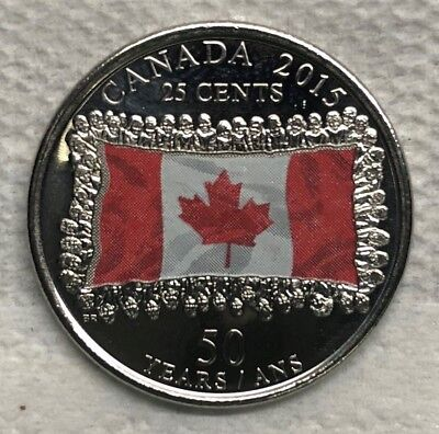25 cent coin 2015 Colored Canada Flag - UNCIRCULATED from Mint Roll