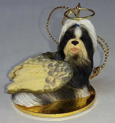 EUC Shih Tzu Black White Dog ANGEL Tiny One Ornament Figurine Statue 2""