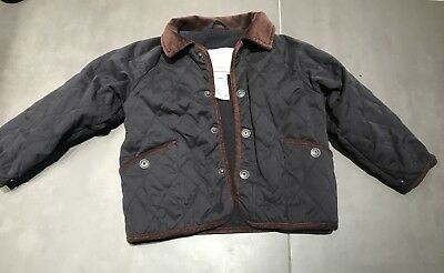 Navy Coat Girl/ Boy Quilted Jacadi Paris 2 Years Snap Double Lining Collar